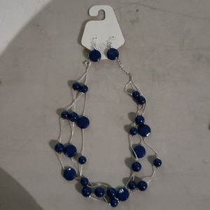 Americana Silver Tone Summer Necklace/Earring Set